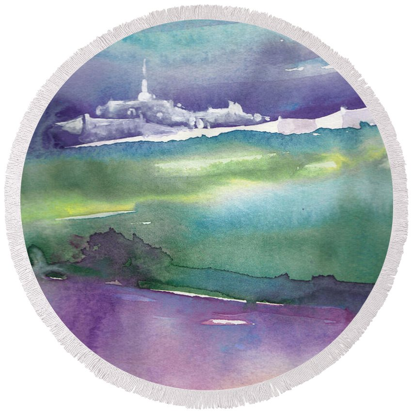 Landscapes Round Beach Towel featuring the painting Dawn 14 by Miki De Goodaboom
