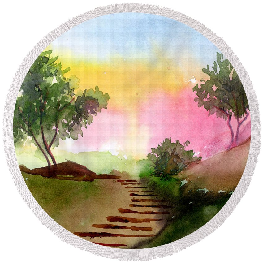 Landscape Round Beach Towel featuring the painting Dawn by Anil Nene