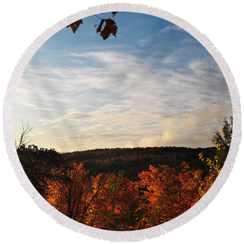 Autumn Round Beach Towel featuring the photograph Dawn At Algonquin Park Canada by Oleksiy Maksymenko
