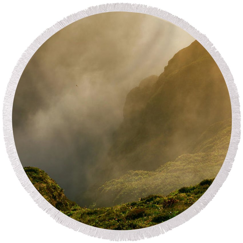 Azores Round Beach Towel featuring the photograph Dawn At Fogo Crater by Gaspar Avila