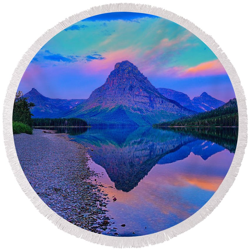 Two Medicine Round Beach Towel featuring the photograph Dawn At Two Medicine Lake by Greg Norrell