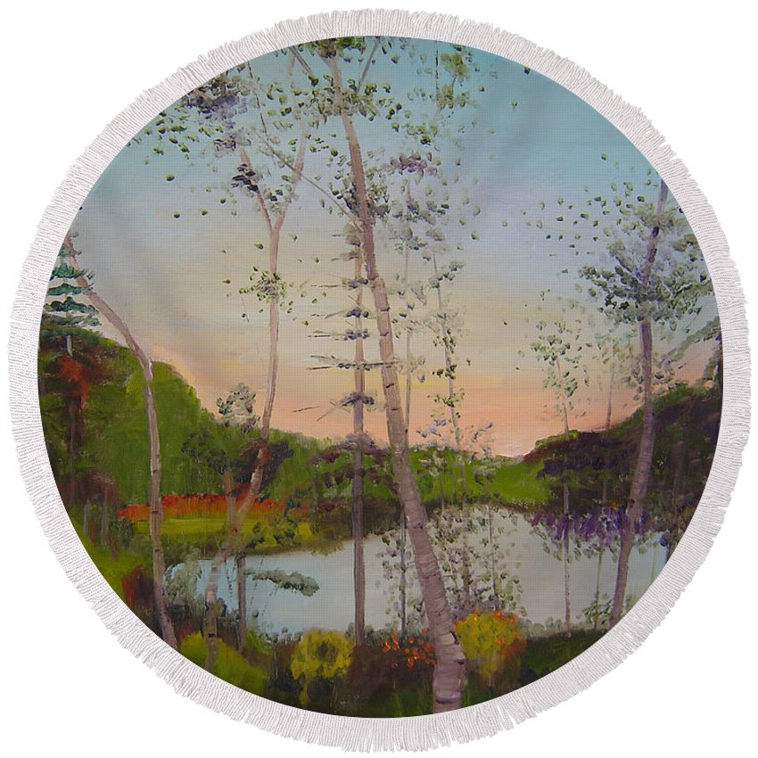 Landscape Round Beach Towel featuring the painting Dawn By The Pond by Lilibeth Andre