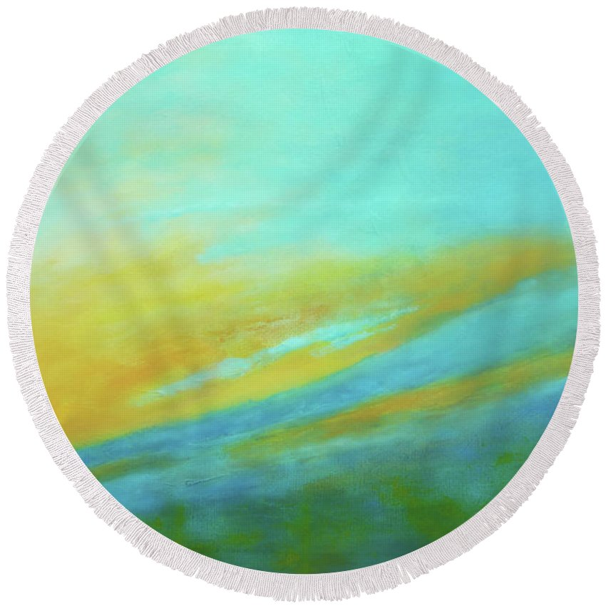 Dawn Round Beach Towel featuring the painting Dawn by Dori Sanz