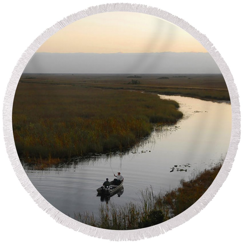Fishing Round Beach Towel featuring the photograph Dawn Everglades Florida by David Lee Thompson