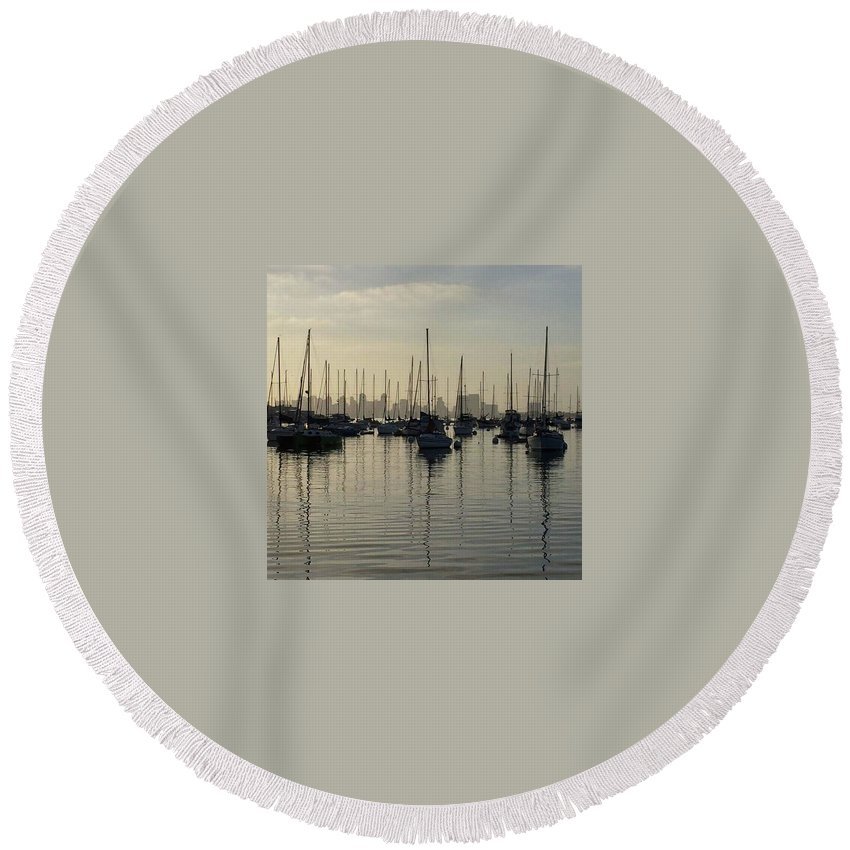 Harbor Round Beach Towel featuring the photograph Dawn Gloom by Jeffrey H