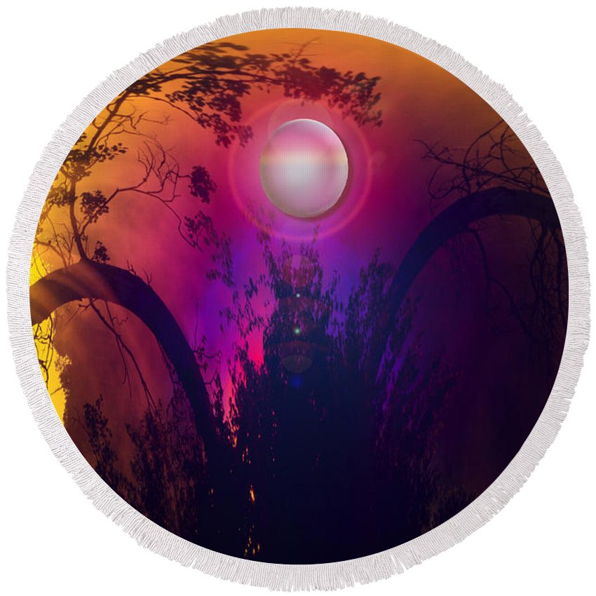 Trees Sky Stars Sun Planet Orb Space Moon Round Beach Towel featuring the photograph Dawn In A New Era by Andrea Lawrence