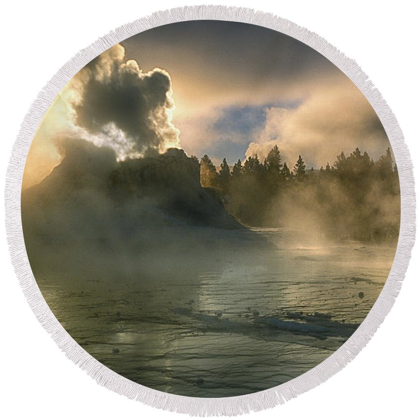 Yellowstone Round Beach Towel featuring the photograph Dawn On Castle Geyser by Sandra Bronstein