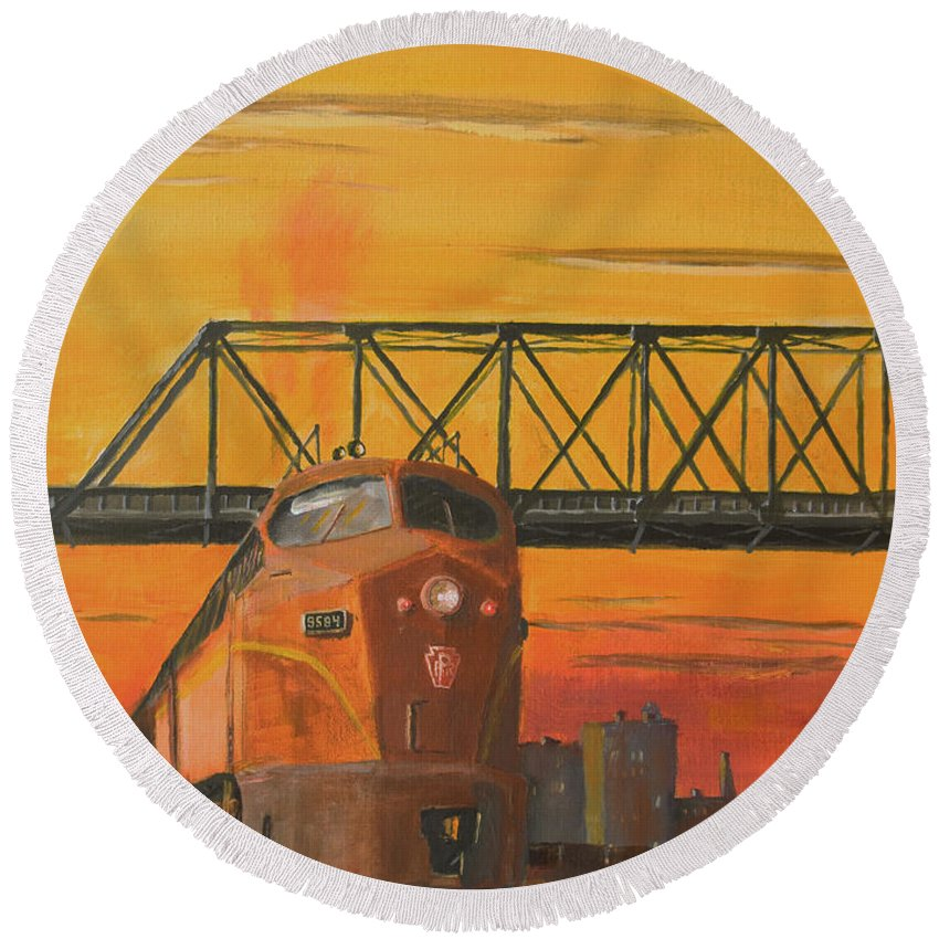 Train Round Beach Towel featuring the painting Dawn Patrol by Christopher Jenkins