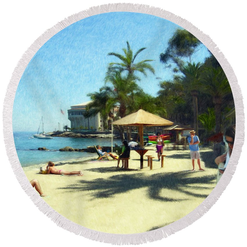 Beach Round Beach Towel featuring the digital art Day At The Beach by Snake Jagger
