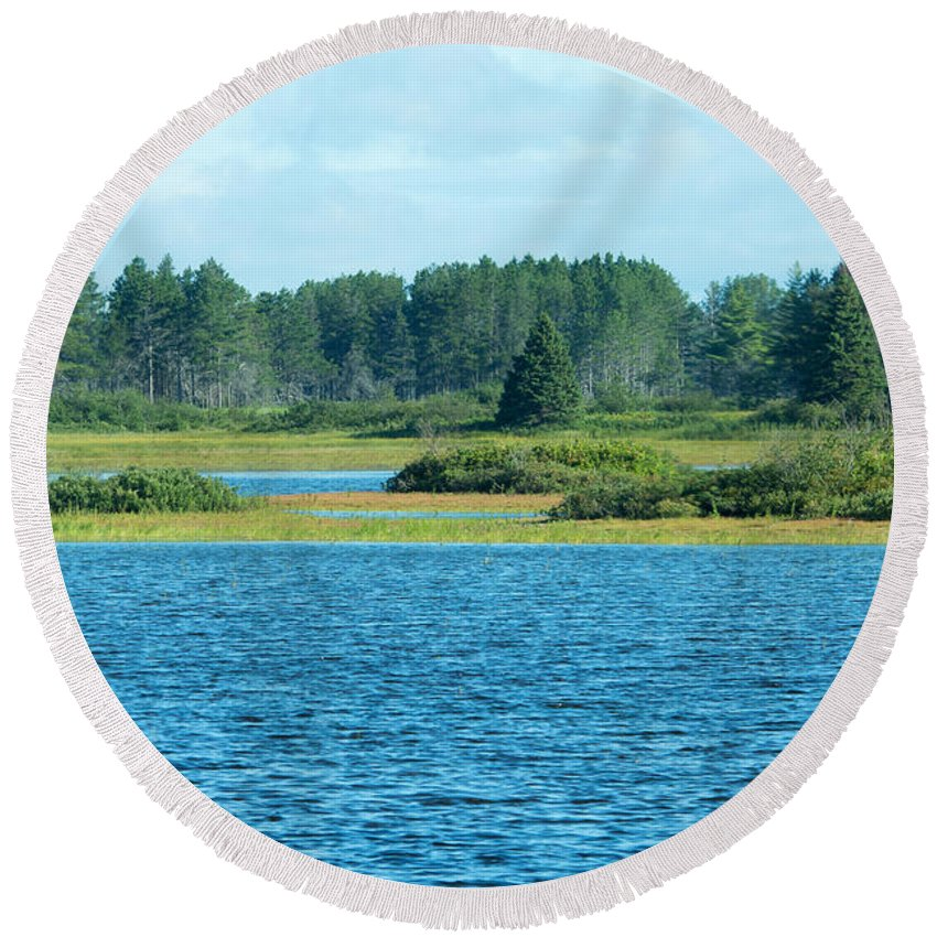 Seney National Wildlife Refuge Round Beach Towel featuring the photograph Day At The Wetlands by Linda Kerkau