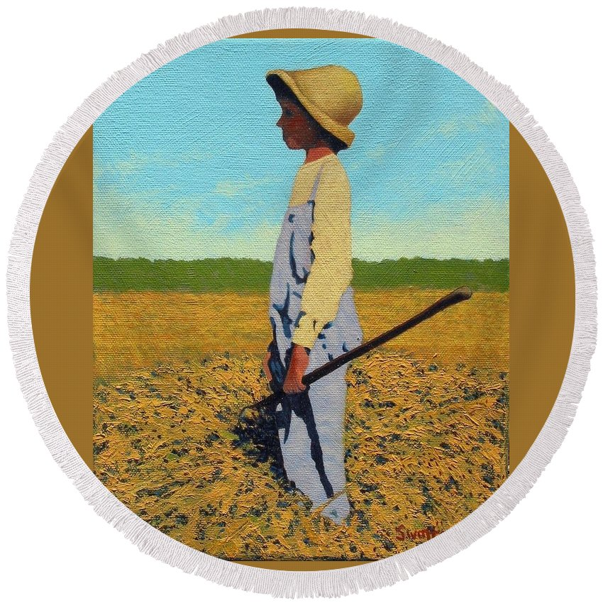 Country Round Beach Towel featuring the painting Day Dreamer by Jim Bob Swafford
