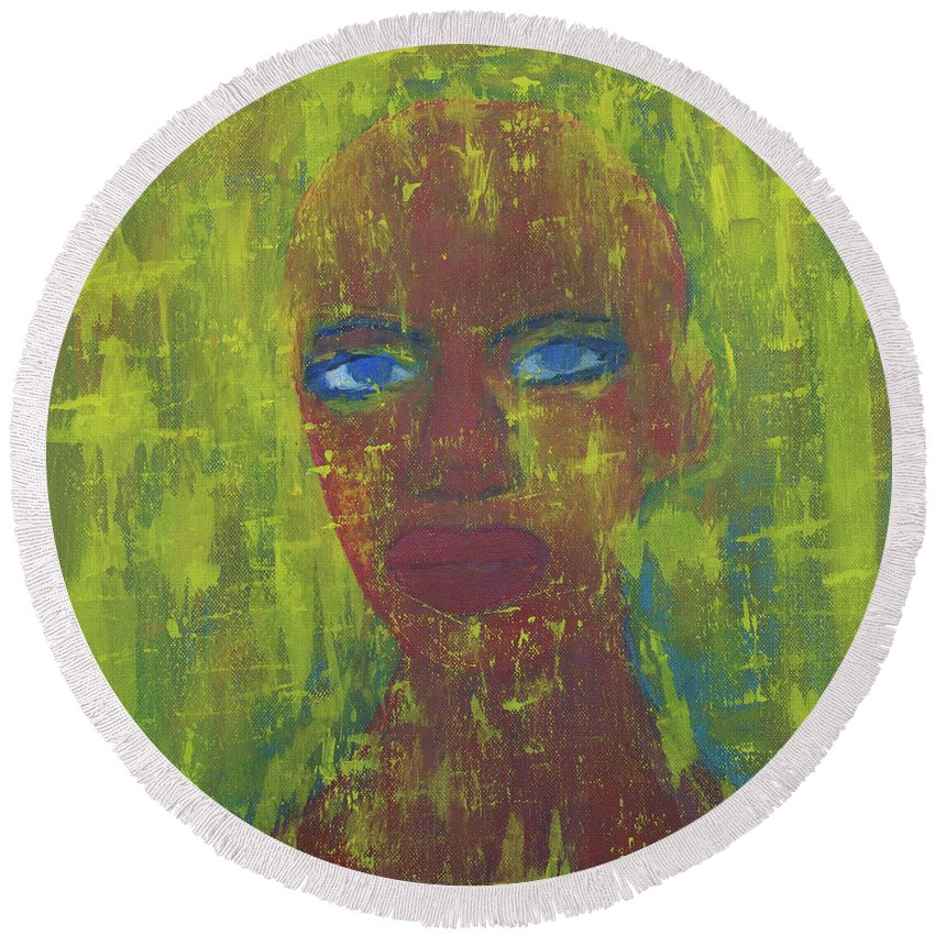 Portrait Abstract Round Beach Towel featuring the painting Day by Crina Iancau