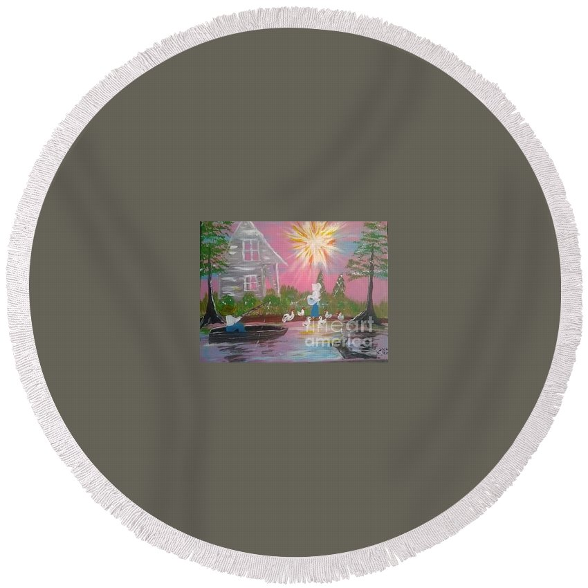 Day In Acadiana Round Beach Towel featuring the painting Day In Acadiana by Seaux-N-Seau Soileau