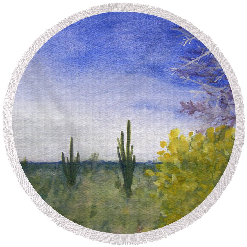 Arid Round Beach Towel featuring the painting Day In Arizona Desert by Lee Serenethos
