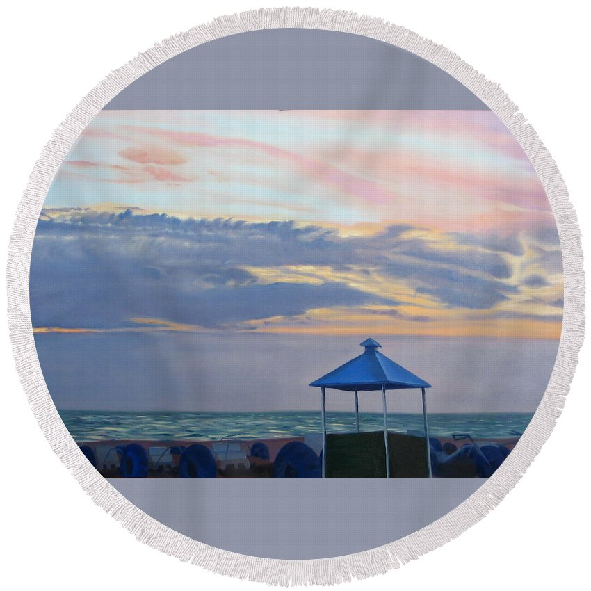 Sunset Round Beach Towel featuring the painting Day Is Done by Lea Novak