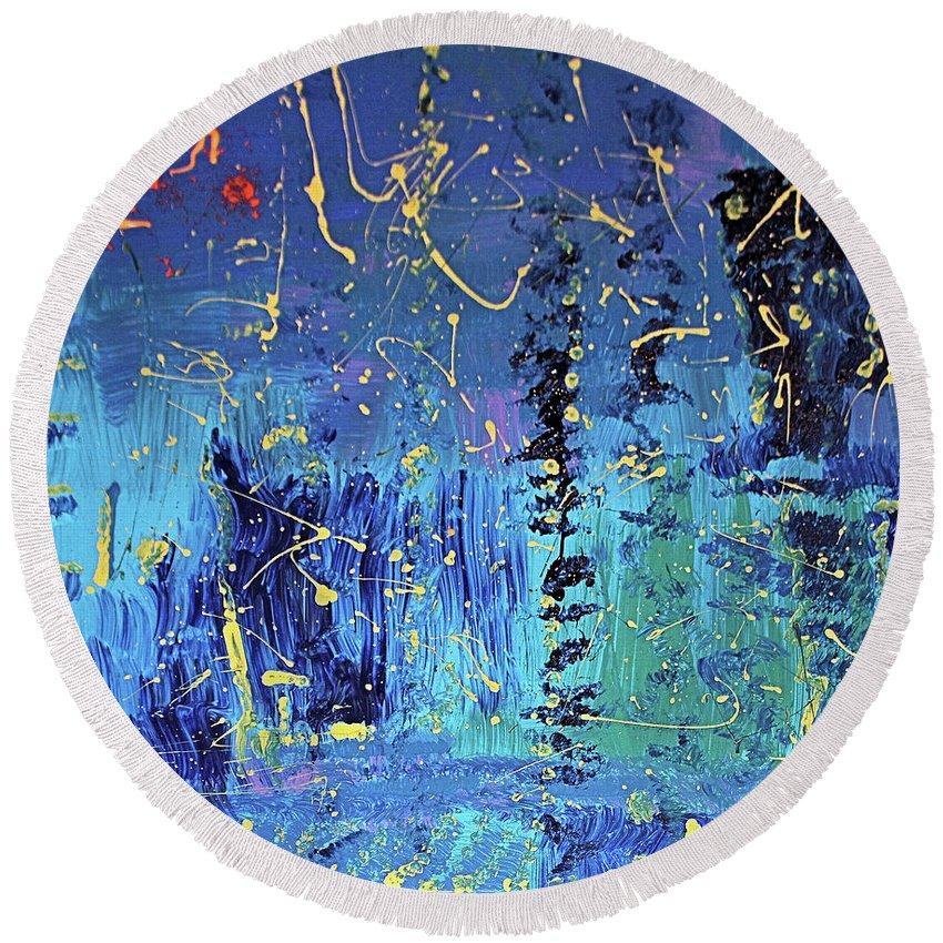 Blue Round Beach Towel featuring the painting Day Light Saving Time by Pam Roth O'Mara