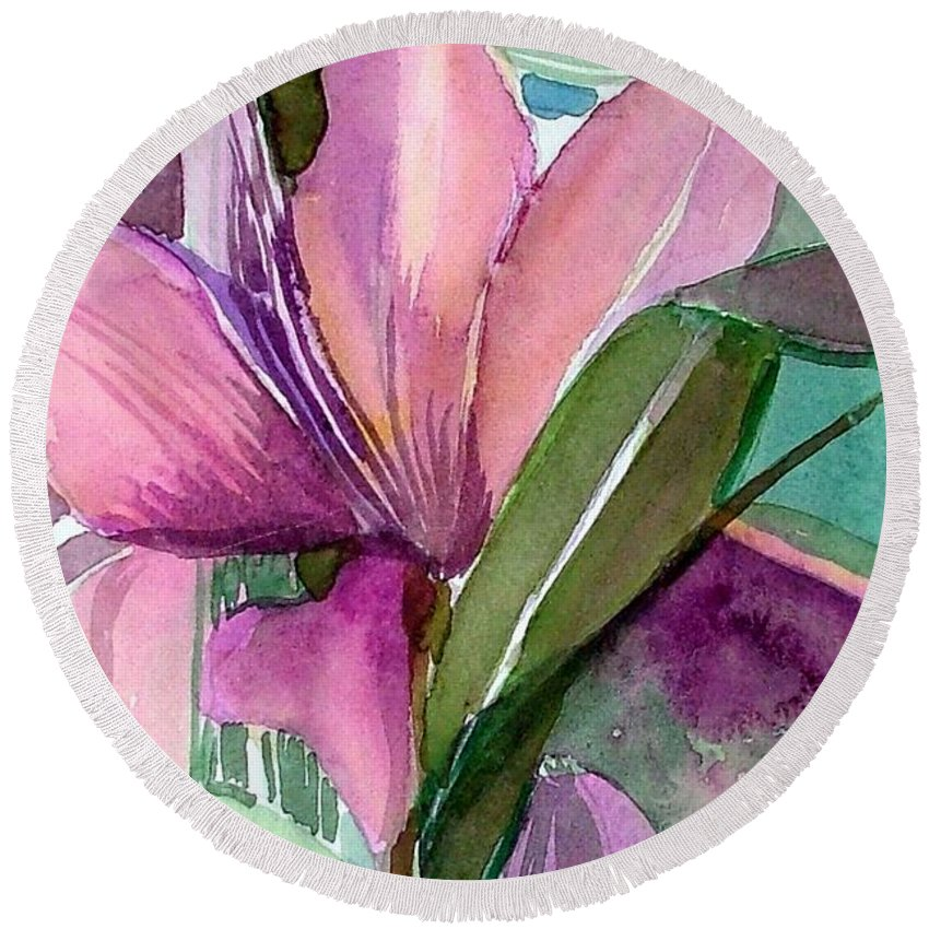 Flower Round Beach Towel featuring the painting Day Lily Pink by Mindy Newman