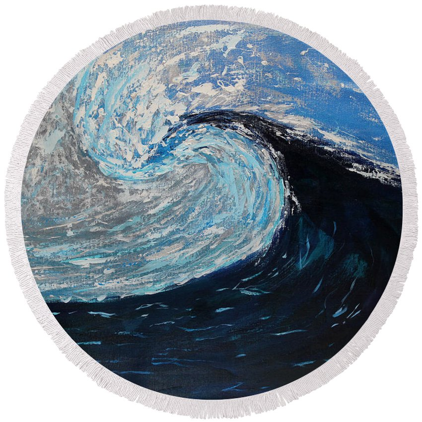 Seascape Round Beach Towel featuring the painting Daybreak by Anchen Martin