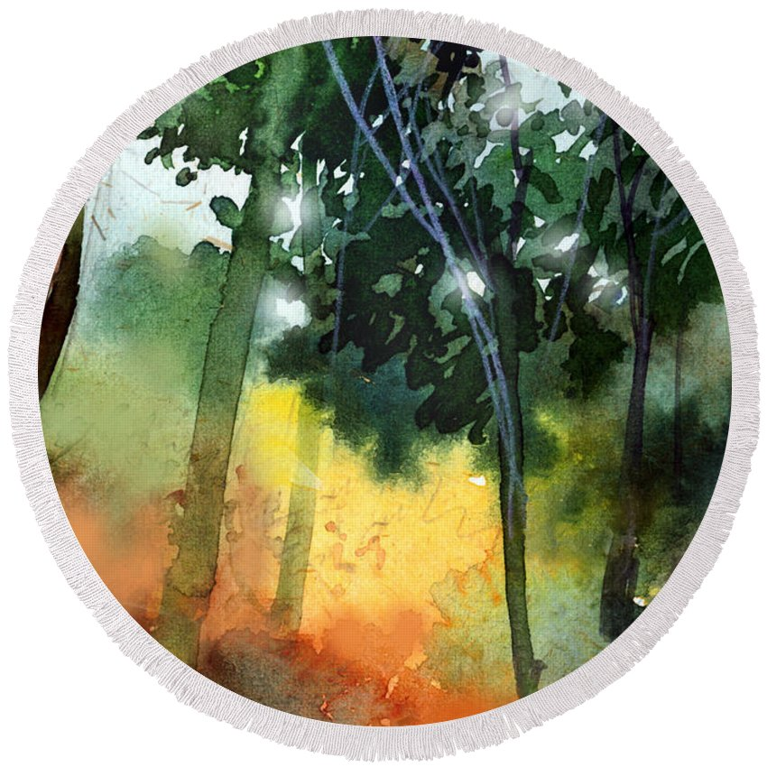Water Color Round Beach Towel featuring the painting Daybreak by Anil Nene