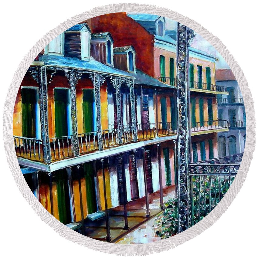 New Orleans Round Beach Towel featuring the painting Daybreak On St. Ann Street by Diane Millsap