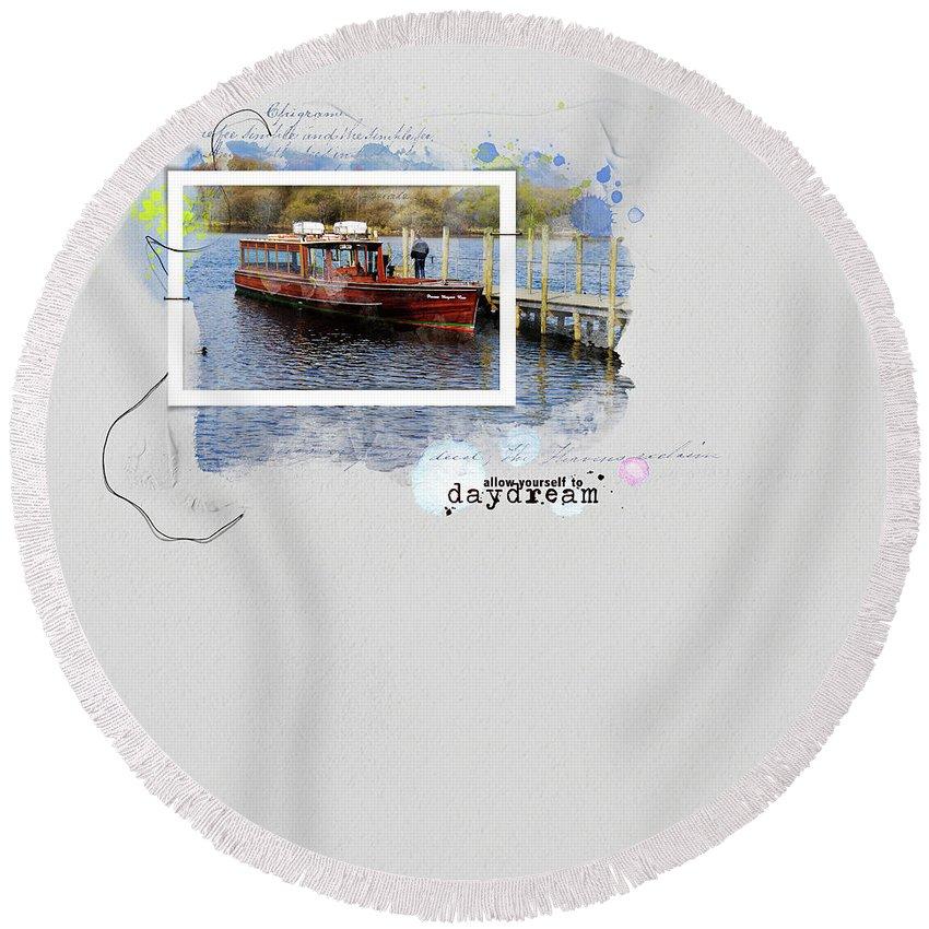 Daydream Round Beach Towel featuring the mixed media Daydream by Gillian Singleton