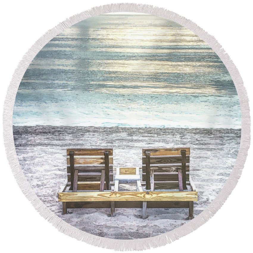 Clouds Round Beach Towel featuring the photograph Daydreaming By The Sea In Watercolors by Debra and Dave Vanderlaan