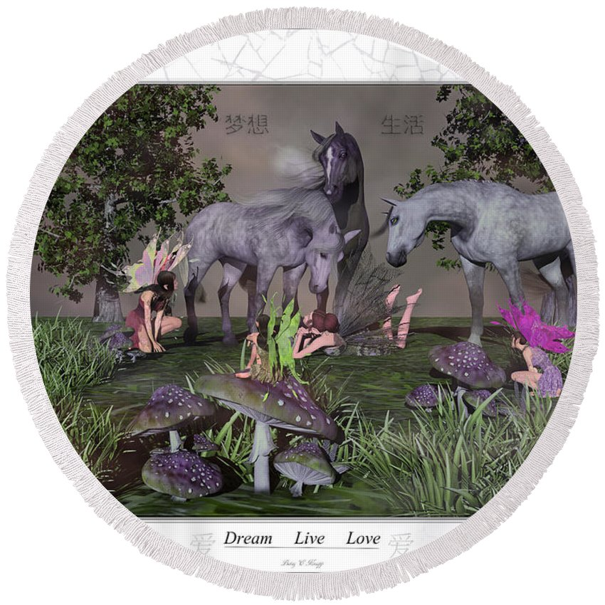 Horse Round Beach Towel featuring the digital art Daydreaming Dreamers by Betsy Knapp