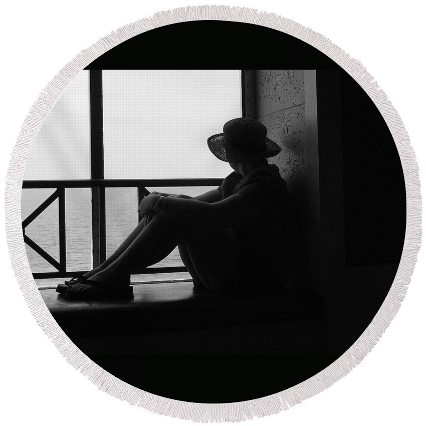 Black And White Round Beach Towel featuring the photograph Daydreaming by Robert Meanor