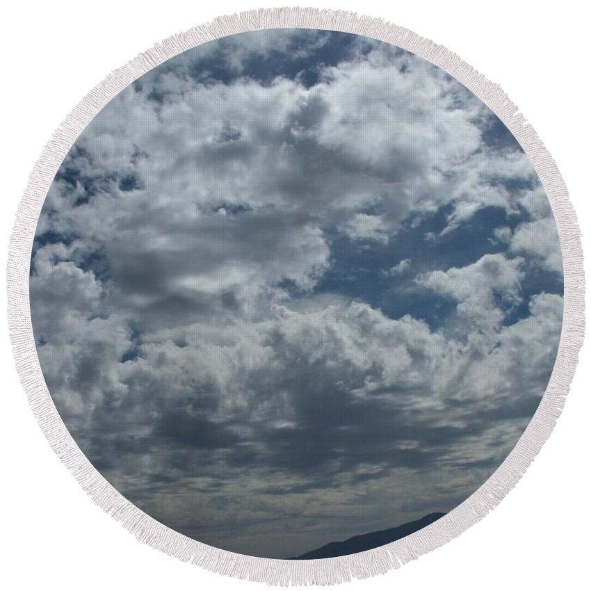 Clouds Round Beach Towel featuring the photograph Daydreaming by Shari Chavira
