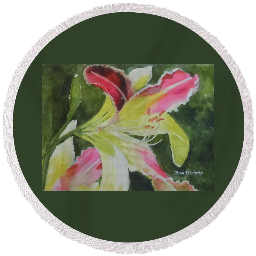 Daylily Round Beach Towel featuring the painting Daylily Study 1 by Jean Blackmer