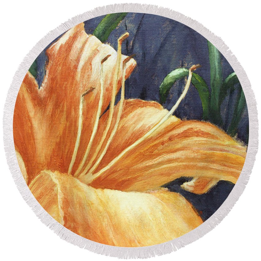 Flower Round Beach Towel featuring the painting Daylily by Todd A Blanchard