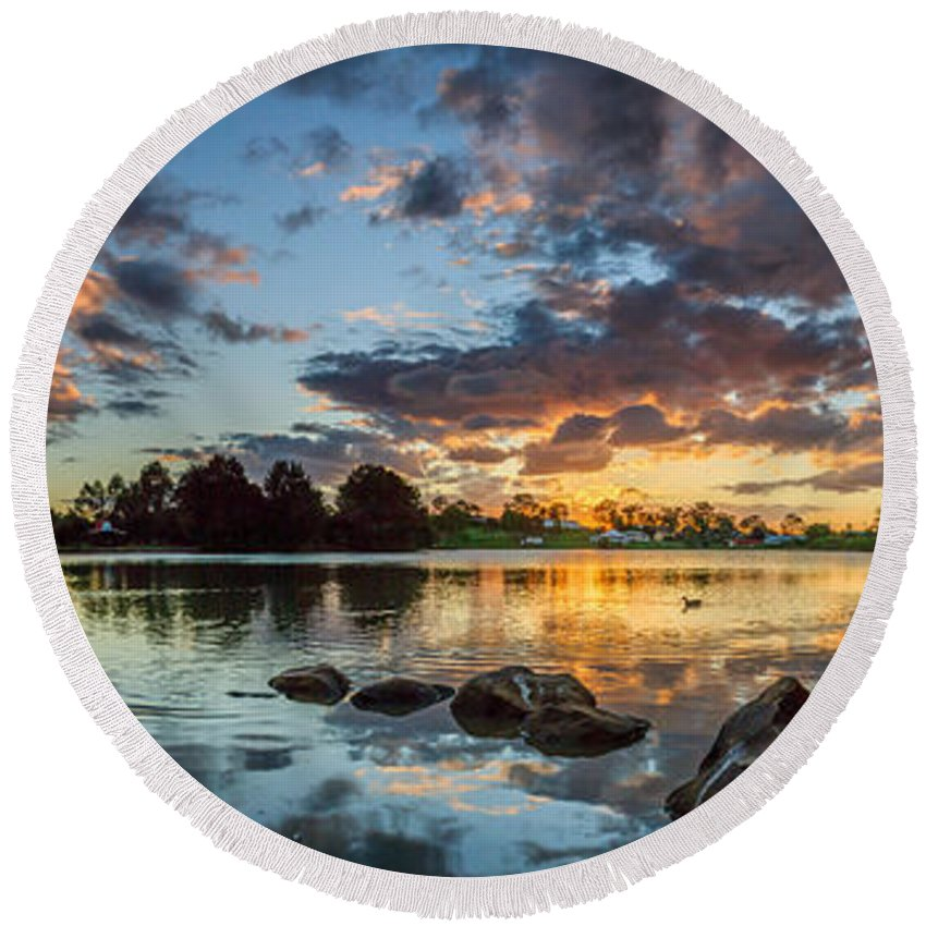 Relections Round Beach Towel featuring the photograph Days Reflection by Sandy Eveleigh