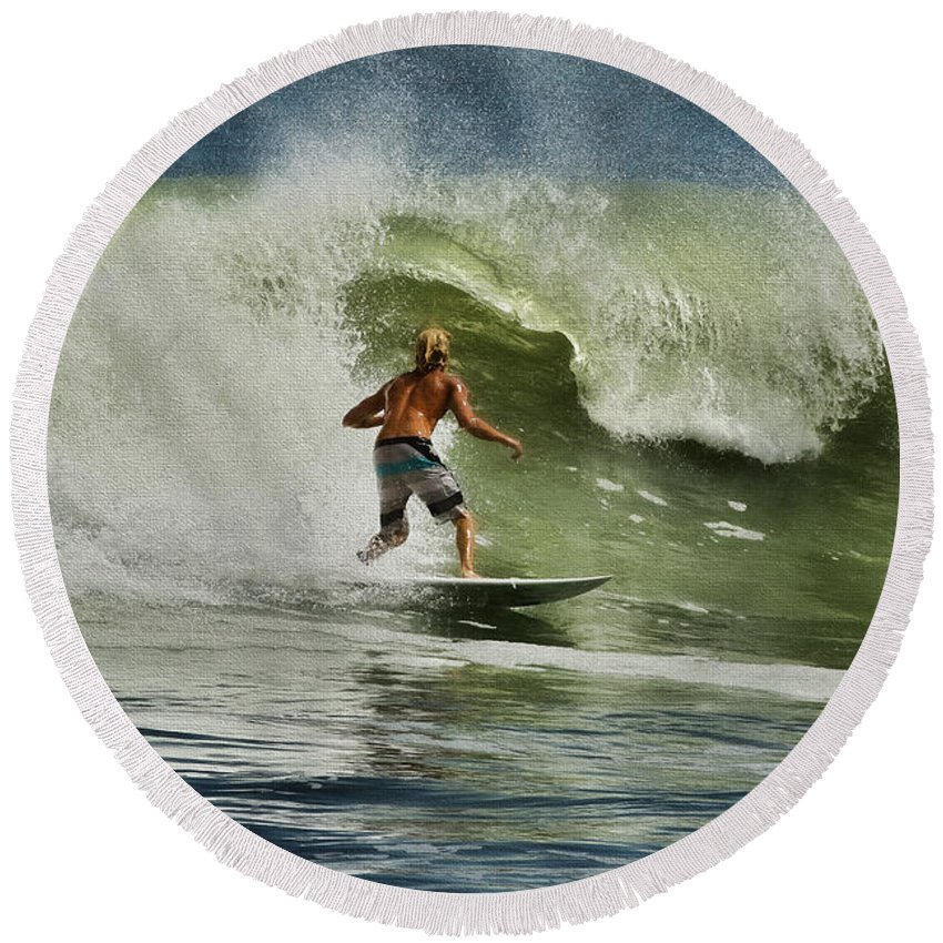 Surf Round Beach Towel featuring the photograph Daytona Beach Surfing Day by Deborah Benoit