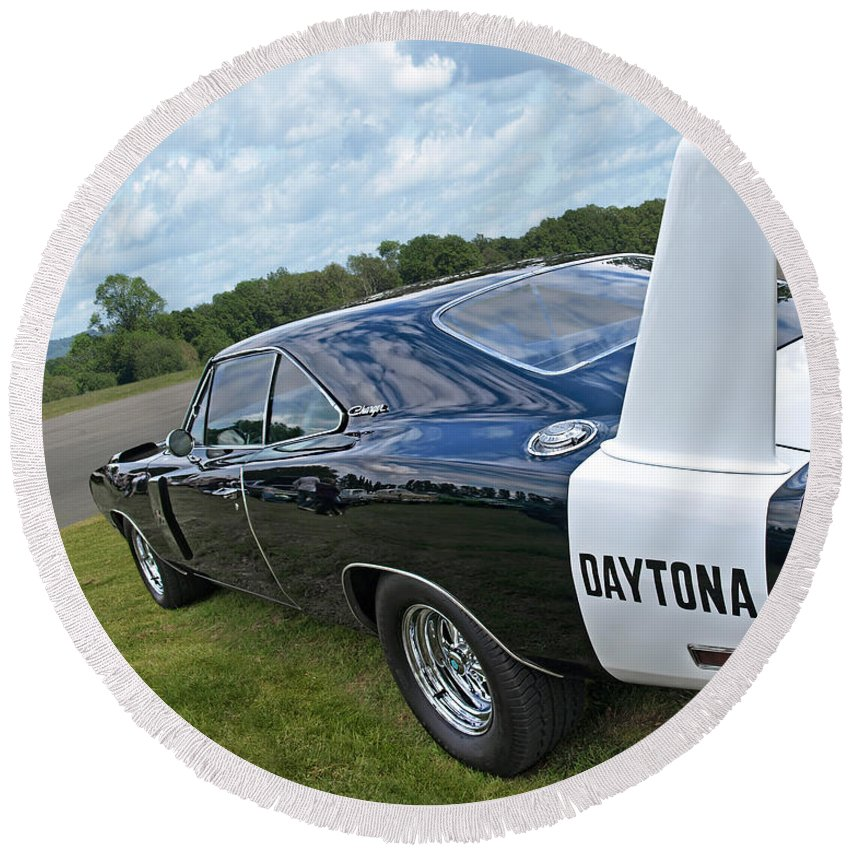 Dodge Charger Round Beach Towel featuring the photograph Daytona Charger by Gill Billington