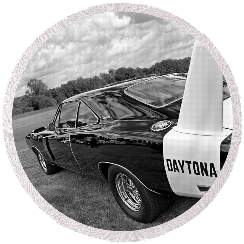 Dodge Charger Round Beach Towel featuring the photograph Daytona Charger In Black And White by Gill Billington