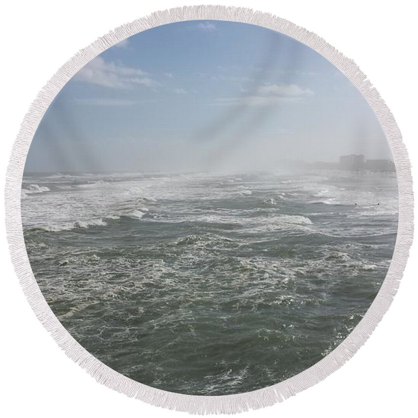 Daytona Round Beach Towel featuring the photograph Daytona Waves by Joseph Taylor