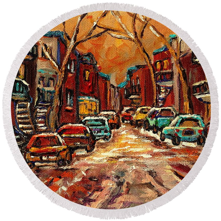 Montreal Round Beach Towel featuring the painting De Bullion Street Montreal by Carole Spandau