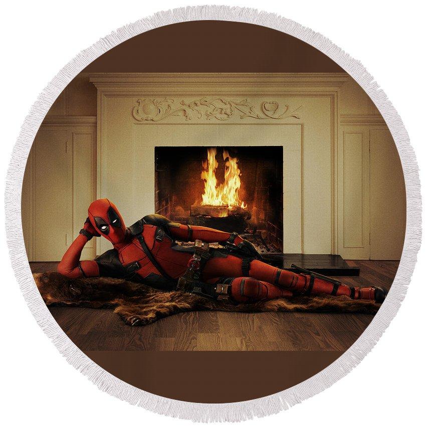 Deadpool 2016 Round Beach Towel featuring the digital art Deadpool 2016 3 by Geek N Rock