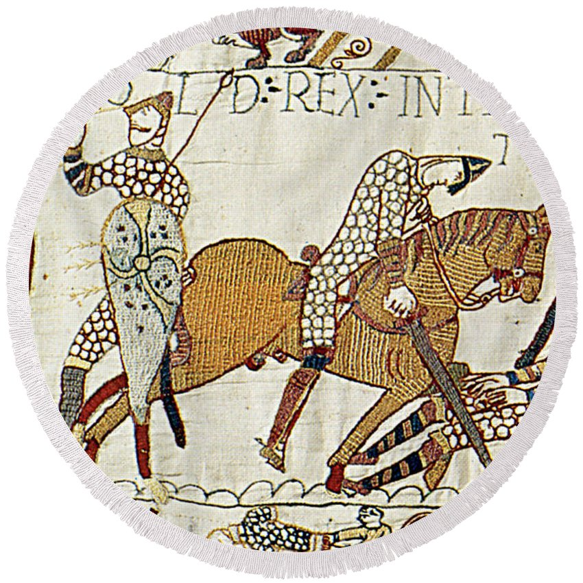 History Round Beach Towel featuring the photograph Death Of Harold, Bayeux Tapestry by Photo Researchers