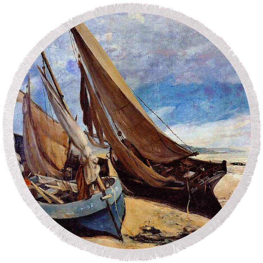 Deauville Beach 1866 Round Beach Towel featuring the photograph Deauville Beach 1866 by Padre Art