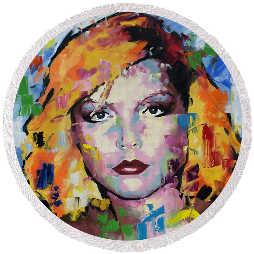 Debbie Harry Round Beach Towel featuring the painting Debbie Harry by Richard Day