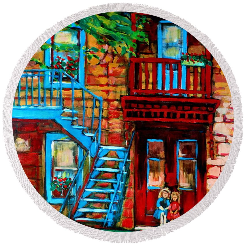 Montreal Streetscenes Round Beach Towel featuring the painting Debullion Street Neighbors by Carole Spandau