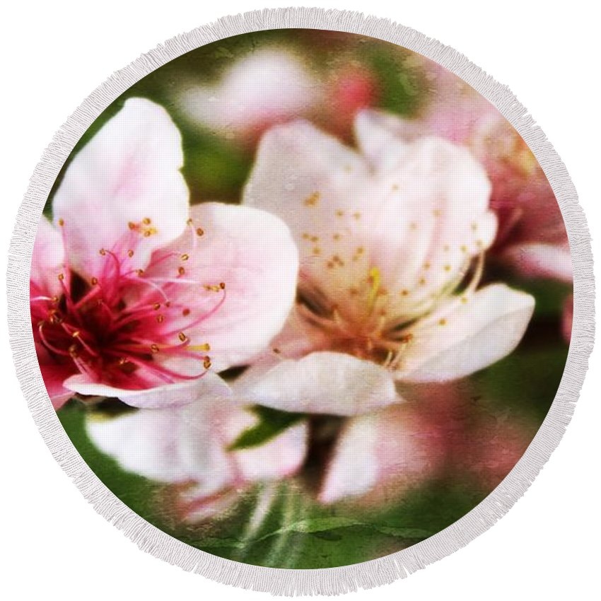 Spring Blossom Round Beach Towel featuring the photograph Decadent Spring Delight by Clare Bevan