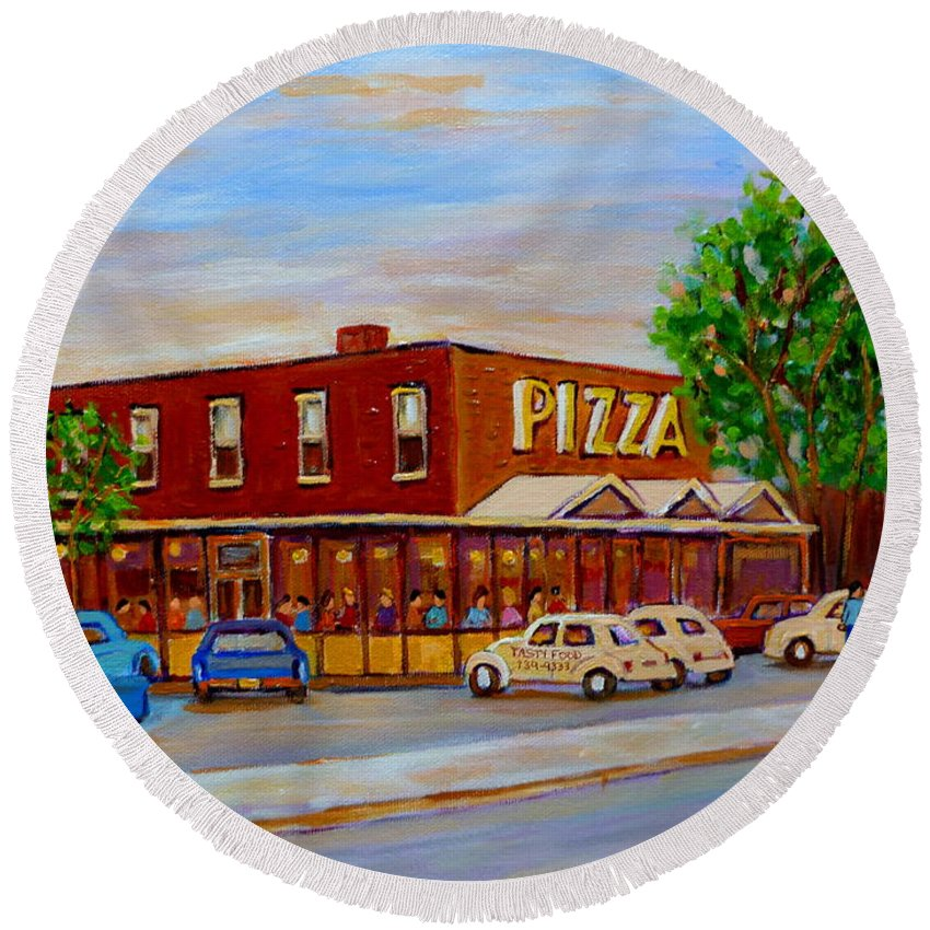 Tasty Food Pizza Round Beach Towel featuring the painting Decarie Tasty Food Pizza by Carole Spandau