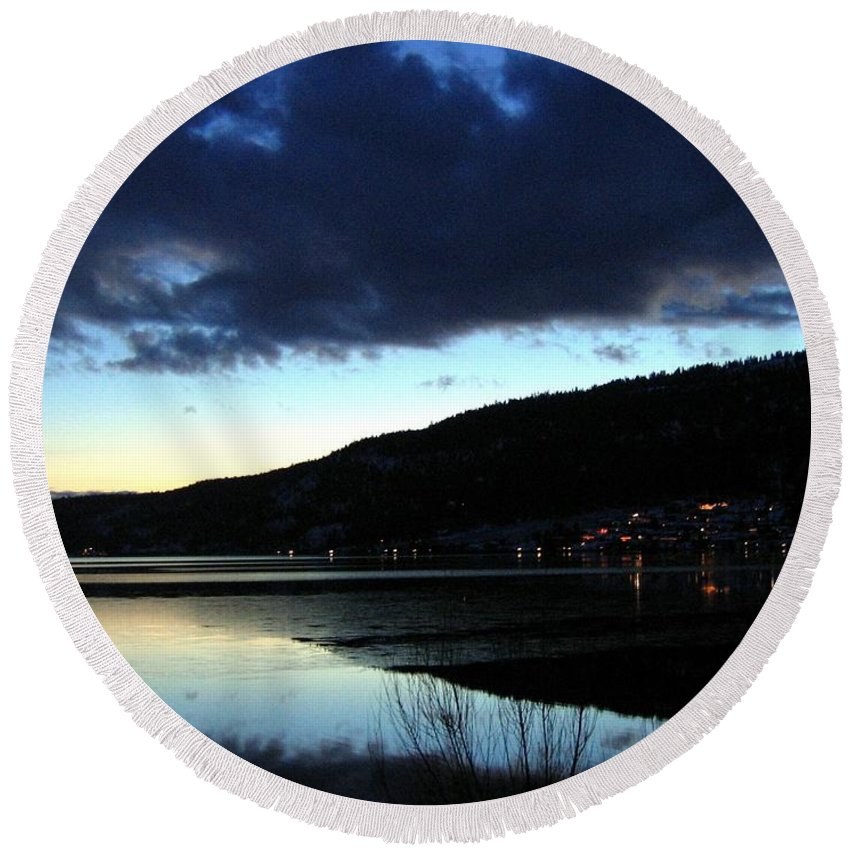 Evening Round Beach Towel featuring the photograph December Evening by Will Borden