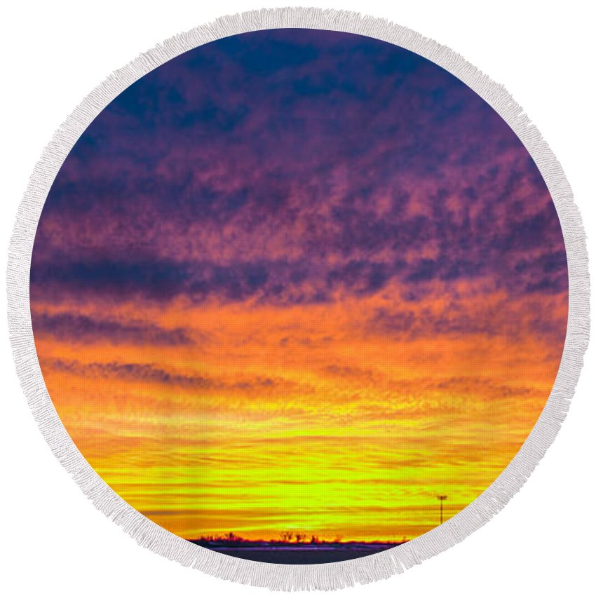 Nebraskasc Round Beach Towel featuring the photograph December Nebraska Sunset 003 by NebraskaSC