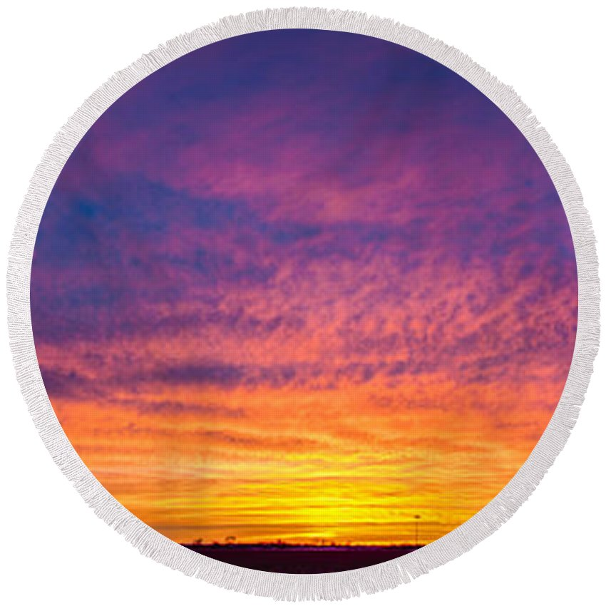 Nebraskasc Round Beach Towel featuring the photograph December Nebraska Sunset 004 by NebraskaSC