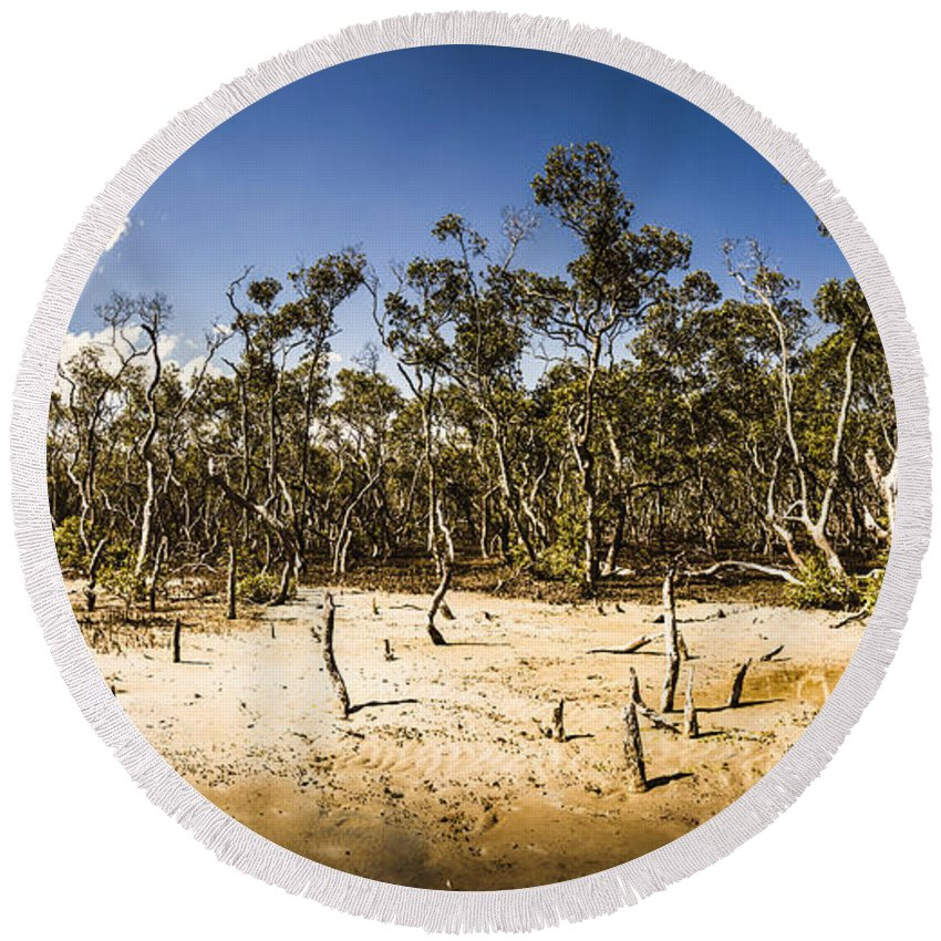 Mangrove Round Beach Towel featuring the photograph Deception Bay Conservation Park by Jorgo Photography - Wall Art Gallery