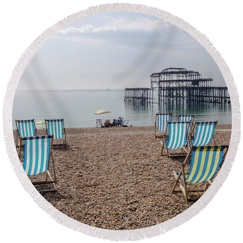 Deck Chairs Round Beach Towel featuring the photograph Deck Chairs by Barry Goble