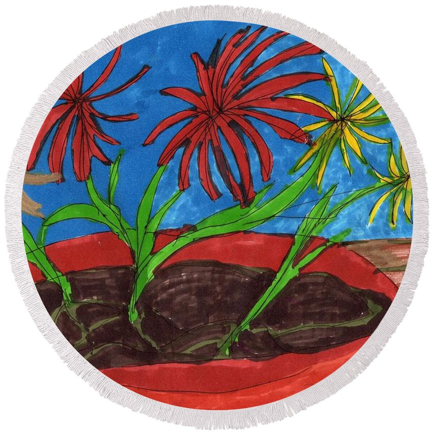 Flowers In A Planter Round Beach Towel featuring the mixed media Deck Plant by Elinor Helen Rakowski